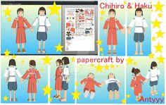 Chihiro and Haku (Spirited away) papercraft by Antyyy