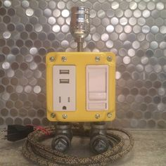 Yellow industrial steampunk lamp with USB charging station by FlyMarket on Etsy https://www.etsy.com/listing/236305782/yellow-industrial-steampunk-lamp-with