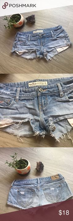 Jean Shorts Light colored, cheeky jean shorts from Hollister 🍑 SIZE 1. Hollister Shorts Jean Shorts