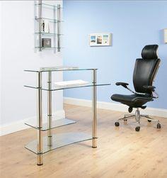 Black Glass & Chrome Modern Computer Desk Workstation by Innovex ...