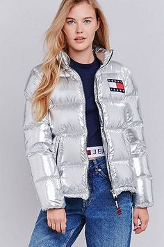 UO Exclusive Tommy Jeans Silver Quilted Down Parka