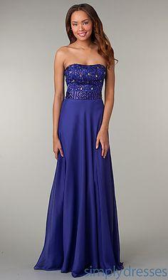 Strapless Floor Length Jewel Embellished Dress at SimplyDresses.com