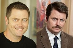 9 Famous Men Without Their Facial Hair ((photographed: my hero, Ron Swanson, and the actor who plays him, Nick Offerman))
