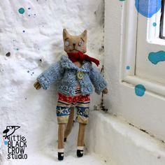 Joshua the cat, primitive style, cloth doll