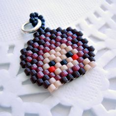 Hedgehog Seed Bead Charm  Brick Stitch Bead Weaving  by BeadCrumbs, $3.50