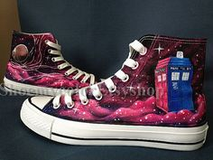 Doctor Who Converse 50th anniversary, Doctor Who Custom On Lacal Brand Shoes 62.99USD, Paint On Custom Converse Shoes Only 102.99Usd