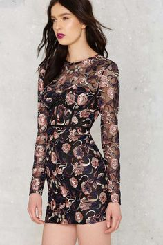 Nasty Gal Bangin' Bloom Mesh Dress - Clothes | Going Out | Dresses