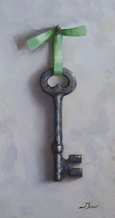 Original Oil Painting - Key on a Ribbon- Contemporary Still Life Art - Nelson