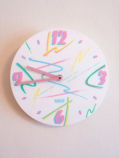 HOLD for CATHY Vintage 1980s 1990s Clock Pastel Surf Abstract Splatter Pattern…