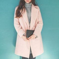 Notched-Lapel Wool Blend Coat | Korean Fashion