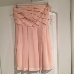 Express light pink strapless dress. Express light pink strapless dress. Side zipper. Basket weave design in front and back. Worn once. Express Dresses Strapless