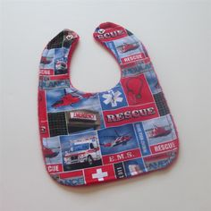 Emergency Medical Services Rescue Ambulance EMT EMS Fabric Baby Bib with Soft Minky