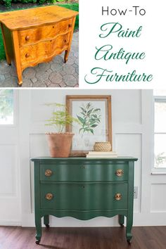 How to paint vintage and antique furniture - green painted serpentine dresser upcycle with Hepplewhite bail pulls. furniture makeover Painted Dresser - Vintage Upcycle - The Honeycomb Home Green Painted Furniture, Painting Antique Furniture, Refurbished Furniture, Upcycled Furniture, Furniture Projects, Vintage Furniture, Cool Furniture, Furniture Design, Outdoor Furniture
