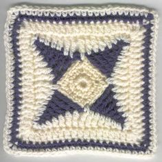 4-Pointed Star Square Motif By BeMedina - Free Crochet Pattern - (undisthreadness.blogspot)
