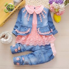 Baby Girl Toddler Denim Coat + Cotton Lace Shirt + Jeans Clothes Outfit Set – Outfit Ideas for Girls Baby Girl Fashion, Fashion Kids, Toddler Fashion, Toddler Outfits, Baby Outfits, Kids Outfits, Fashion Clothes, Fall Fashion, Fashion Outfits