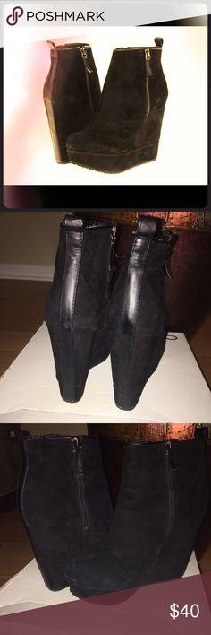 "ALDO CECELIA BLACK ANKLE WEDGE BOOT Aldo Cecelia Black Suede Ankle Wedge Boot. Worn 3x's gently used. Smoke free home. 4"" Wedge heel. Aldo Shoes Ankle Boots & Booties"
