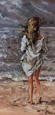 """ MOMENTS ... "" SEA original painting palette knife GIFT MODERN URBAN ART OFFICE ART DECOR HOME DECOR GIFT IDEA by Monika Luniak"
