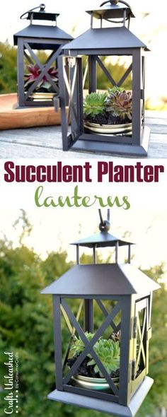 Earth Day is right around the corner, and these lanterns turned DIY succulent planters are easy to create and make a great home decor project for spring!
