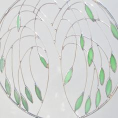 Weeping Willow Stained Glass and Wire Suncatcher by FiveSparrows, $55.00