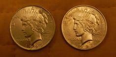 Pair 1923 P AU/UNC PEACE SILVER DOLLAR COIN $55.00 + $2.60 Shipping