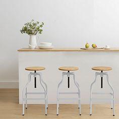 Mason Bar Stool, White by Zanui Grey Bar Stools, Modern Bar Stools, Bar Chairs, Tiny House, Modern Home Bar, Home Bar Accessories, Basement Bar Designs, Vintage Bar, Vintage Modern
