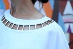 Edge up the basic tee with this simple DIY Cut Out neckline I designed with cylinder beads   DIY tutorial below: