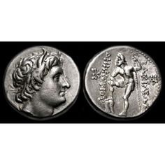 """Kings of Macedon Demetrius I Poliorcetes B.) Silver Tetradrachm Weight g. Diameter: 27 mm Obverse: Diademed and horned head of the Macedonian king Demetrios I Poliorctes, son of one of the most capable Alexander's generals Antigonus I """"th Gold And Silver Coins, Artemis, Ancient History, Seals, Mythology, Religion, Rings, Stuff To Buy, Seal"""