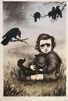 """Baby Edgar Allan Poe toddler with cat, by Carrie Lingscheit. two-year-old Edgar Poe is orphaned, presumably altering the trajectory of his life, work, and ultimate impact on American literary history"""". Edgar Allan Poe, Memes Arte, 7 Arts, Allen Poe, Crows Ravens, History Images, Arte Horror, Art Design, Macabre"""
