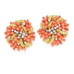 Pair of Gold, Platinum, Coral and Diamond Earclips, Cartier