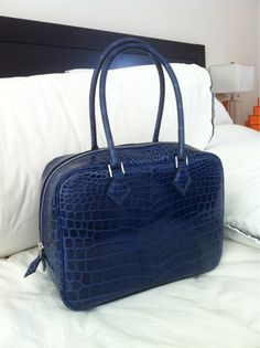 Authentic HERMES BLUE JEAN leather PLUME BAG 32cm NEW | Leather ...