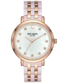 500b1536745e kate spade new york Women s Monterey Rose Gold-Tone Stainless Steel and  Blush Pink Acetate