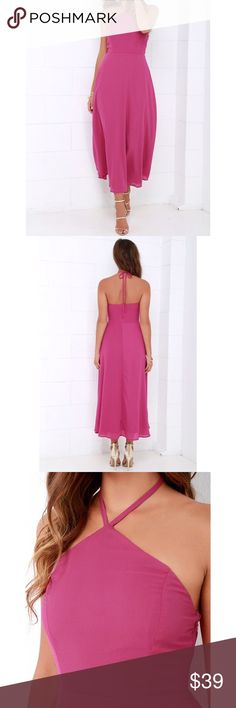Magenta Halter Midi Dress New  Magenta Halter Midi Dress. Princess-seamed, woven bodice rises to meet a tying halter strap, while the elasticized back offers a comfortable fit.   High waist flows into a full skirt with a midi-length hem.  Hidden side zipper with clasp. Fully lined. 100% Polyester  No Trades ✅Bundle and Save✅ boutique Brand Dresses