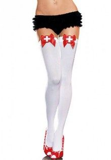 c07684aed Sheer Thigh High Stocking with Satin Bow Top Sexy Nurse Costume