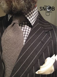 A | Curated | Man : Photo {minus the beard} WIWY grey pinstripe suit by Ralph Lauren, gingham check shirt, tie & pocket-square Tom Ford