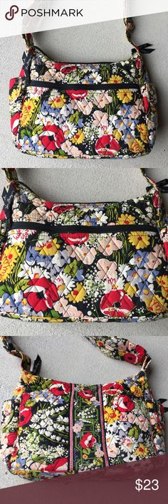 """Vera Bradley floral crossbody  bag Vera Bradley floral crossbody or shoulder bag. Has two outer pockets on the sides, a front zip pocket and three inner pockets (so pockets everywhere!). Has been used but still has a lot of life left! No stains or tears other than the little ones in the corners and the strap (last two pictures). The strap is 41"""" long but can be shortened up to 21"""". Dimensions: 9"""" x 10.5"""" x 4.5"""" Vera Bradley Bags Crossbody Bags"""