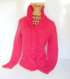 Vintage Mohair Sweater Cardigan Red Raspberry by nanascottagehouse, $40.00