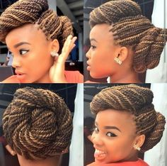 Two Twisted Buns on Senegalese Twists - perfect updo!