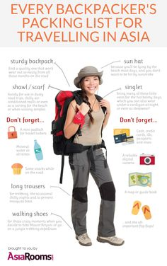Every Backpacker's Packing List for Travelling in Asia | Created in #free @Piktochart #Infographic Editor at www.piktochart.com