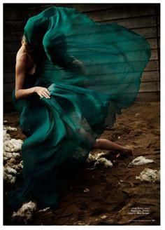 ♂ Feminine beauty fashion editorials lady in green