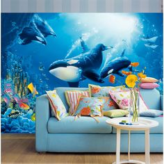 Killer whales plunge in a colorful under the sea theme work of art. Ocean theme wall mural in a contemporary decor space Delight Of Life Wall Mural - DM118 Delight Of Life Photomural