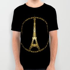 Eiffel Tower gold sparkles peace symbol All Over Print Shirt #PLdesign #PrayforParis #GoldSparkles #SparklesGift