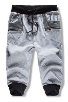 Loose Fit Summer Lace Up Color Block Pantacourt For Men Best Mens Joggers, Mens Jogger Pants, Mens Sweatpants, Men's Pants, Sweat Pants, Pajama Pants, Ankle Pants Mens, Loose Shorts, Latest T Shirt