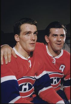 Maurice Richard   Montreal Canadiens; Four Stanley Cups (1956-57, 1957-58, 1958-59, 1959-60) --- Pictured: brother Henri Richard and Maurice Richard 11/20/1955 (Hy Peskin/Sports Illustrated)