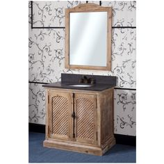 Upgrade your bathroom with the exquisite design of this elegant bathroom vanity. The black marble countertop includes a backsplash for extra style and convenience.