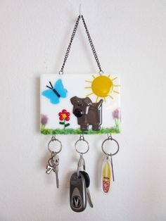 Whimsical Dog Lover Home Decor, Fused Glass Key Rack, Chocolate Lab Lover Gift, Key Chain Holder, Decoration for Dog Lover, Wall Key Holder - pinned by pin4etsy.com