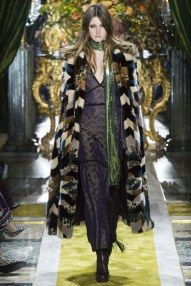 MFW Fall 16 RTW | Roberto Cavalli's boho - art nouveau - 70's glam rock | Black lace dress and long print coat | The Luxe Lookbook