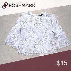 Lace bell 3/4 sleeve top White lace belle sleeve top Tops Blouses