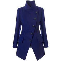 Vivienne Westwood Anglomania State Coat (5 700 ZAR) ❤ liked on Polyvore featuring outerwear, coats, jackets, coats & jackets, vivienne westwood, royal blue coat, vivienne westwood anglomania, high collar coat, vivienne westwood anglomania coat and blue coat