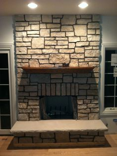 Fieldstone Fireplace Custom Mantel by Wendt Working Wood Burning Fireplace Rock Face Limestone Hearth Fireplace Design, Fireplace Ideas, Pellet Stove, Rustic Fireplaces, Wood Burning, Hearth, Brick, Stone, Building