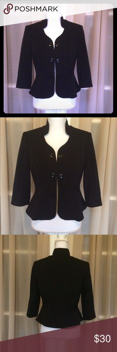 White House black market blazer ⭐️NWOT⭐️ White House black market blazer. So classy & elegant! 3 buttons going down the front on both sides & 2 buttons on the back. Fabric: shell- 63% polyester 32% rayon 5% spandex; lining- 100% polyester. Never worn, no flaws! Smoke free & pet free home! White House Black Market Jackets & Coats Blazers